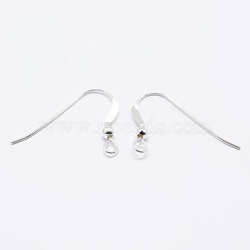 925 Sterling Silver Earring Hooks, Silver, 17x22x2.5mm, Hole: 2mm; Pin: 0.6mm(STER-K167-067S)