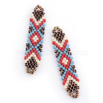 MIYUKI & TOHO Japanese Seed Beads, Handmade Links, Loom Pattern, Sky Blue, 41~41.5x9x2mm, Hole: 1mm(X-SEED-S011-SP-23)