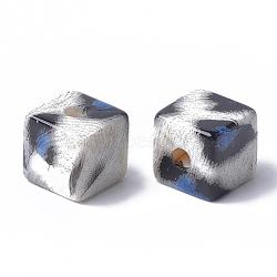 Perles acryliques imprimées, cube, bleu royal, 12x12x12mm, Trou: 3.5mm(MACR-T024-61B)