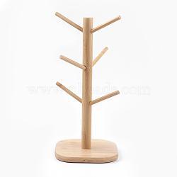 Bamboo Bracelet Displays, Bamboo Mug Rack Tree, Multifunction Jewelry Display Stand, BurlyWood, 16x16x35.5cm(BDIS-F002-01)