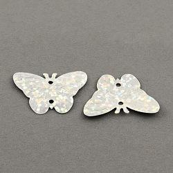 Paillette en plastique papillon liens paillettes, laser flocons lumineux, blanc, 17x22mm, trou: 1.5 mm; environ 600 pcs / 50 g(X-PVC-S032-07)