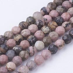 Chapelets de perles en rhodonite naturelle, facette, rond, 4~4.5mm, trou: 1mm; environ 85~90 pcs/chapelet, 14.9'' (38 cm)(G-G735-80-4mm)