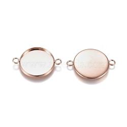304 настройки разъема кабошона из нержавеющей стали, чашки безель с краем, плоские круглые, розовое золото, лоток: 18 мм; 20x27x2 мм, отверстия: 2 mm(STAS-E484-45D-RG)