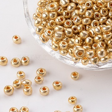 Electroplate Glass Seed Beads, Round Hole Rocailles, Gold Color, Size: about 3.5~5.5mm in diameter, 2.5~6.8mm thick, hole: 1mm(X-SEED-Q005-01)
