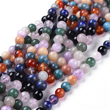Natural Gemstone Beads Strands, Mixed Stone, Round, 9~9.5mm, Hole: 1mm, about: 40pcs/Strand, 15 inches~15.5 inches(X-G-F591-03-10mm)