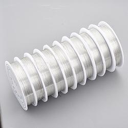 fil de bijoux de cuivre, plaqué longue durée, plaqué argent, Jauge 26, 0.4 mm; 10 m / rouleau(CWIR-Q006-0.4mm-S)