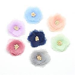 Accessoires de costumes tissés en tissu manuels, fleur, couleur mixte, 37~41x14~19mm(WOVE-Q064-17)