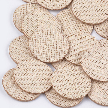 Handmade Straw Woven Pendants, Flat Round, Linen, 40.5x2mm, Hole: 0.8mm(X-WOVE-S119-14D)