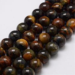 Natural Tiger Eye Bead Strands, Grade AB, Round, 10mm, Hole: 1.2mm; about 38pcs/strand, 14.9''~15.5''
