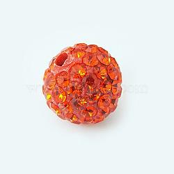 Polymer Clay Rhinestone Beads, Pave Disco Ball Beads, Grade A, Round, Half Drilled, Hyacinth, 8mm, Hole: 1mm(X-RB-H258-HD8mm-236)