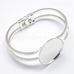 латуни браслет делает, пустое основание браслета, серебристый цвет, лоток: 30 мм; 62 мм(KK-S749-09S)