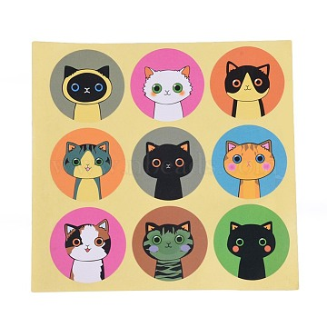 DIY Sealing Stickers, Label Paster Picture Stickers, Cat Theme, Colorful, Sticker: 40mm(X-DIY-O002-11)