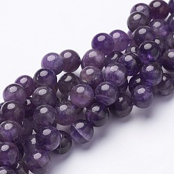 Round Amethyst Beads Strands, about 10mm in diameter, hole: 1mm, about 40pcs/strand, 15.5inches