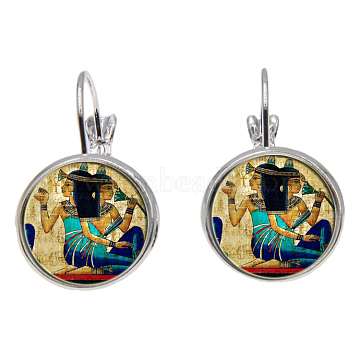 Brass Leverback Earrings, with Picture Glass, Flat Round with Cleopatra, Silver Color Plated, Colorful, 28mm; Pin: 0.8mm(EJEW-O088-31)