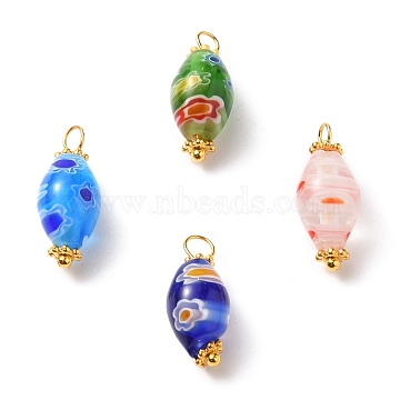 Handmade Millefiori Glass Beads Pendants, with Alloy Spacer Beads and Brass Ball Head Pins, Oval, Golden, Mixed Color, 19x8mm, Hole: 2.5mm(PALLOY-JF00555)