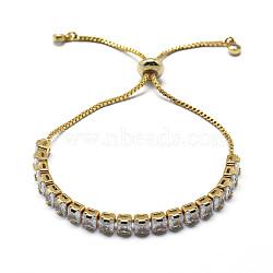 """Bracelets coulissants en laiton, bracelets bolo, avec des chaînes de coupelles en zircone cubique et des chaînes, or, 9-1/2"""" (24 cm)(BJEW-I272-01A)"""