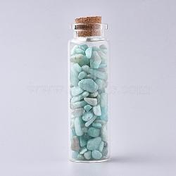 bouteille en verre qui souhaitent, pour la décoration de pendentif, avec des puces en amazonite à l'intérieur et un bouchon en liège, 22x71 mm(DJEW-L013-A02)