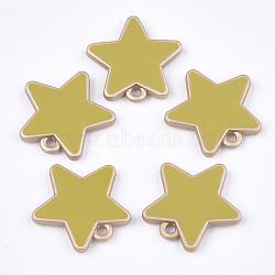 пластмассовые подвески ccb, с эмалью, звезда, darkkhaki, 23x23x3 mm, отверстия: 2 mm(CCB-T007-02E)
