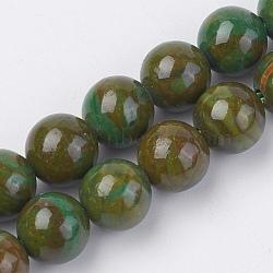 """Chapelets de perles en pierre gemme naturelle, teint, rond, olive, 6mm, trou: 0.8mm; environ 60 pcs/chapelet, 15"""" (38 cm)(G-F560-6mm-A03)"""
