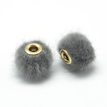 14mm Gray Rondelle Fibre European Beads