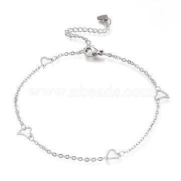 304 Stainless Steel Cable Chain Anklets, with Textured Heart Links and Lobster Claw Clasps, Stainless Steel Color, 9-1/8 inches(23cm)(AJEW-M026-08P)