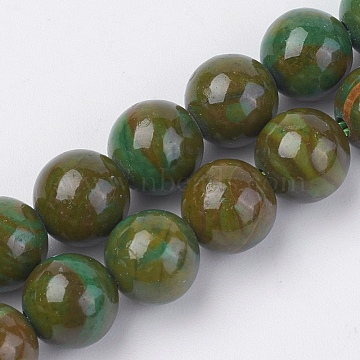 Natural Gemstone Beads Strands, Dyed, Round, Olive, 6mm, Hole: 0.8mm; about 60pcs/strand, 15inches(38cm)(G-F560-6mm-A03)