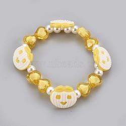 """Bracelets extensibles en perles acryliques pour enfants, avec boutons en acrylique, pomme & coeur & rond, or, 1-7/8"""" (4.8 cm)(BJEW-JB03888-02)"""