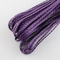Cordon tressé en similicuir, accessoires de bracelet à chevrons, pourpre, 5x2 mm; 100 m / bundle(LC-S002-5mm-04)