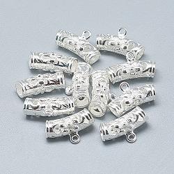 925 liens de suspension en argent sterling, tube avec fleur, argenterie, 17x10x7mm, trou: mm 1.4; 4 mm de diamètre intérieur(STER-T002-54S)