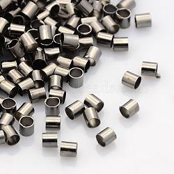 Perles à écraser en laiton , Tube, Sans cadmium & sans nickel & sans plomb, gunmetal, 3x3mm, Trou: 2.5mm, 500 pcs / 10 g(X-KK-L017-B)