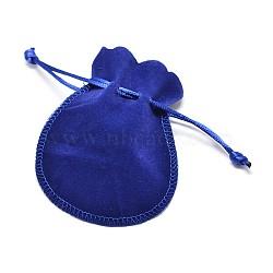 Sacs à bijoux en velours, bleu, 13.5x10.5 cm(X-TP-O002-B-01)