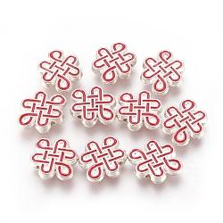 Perles d'émail en alliage, noeud chinois, argenterie, rouge, 13x16.5x3.5mm, Trou: 1mm(ENAM-G110-02S)