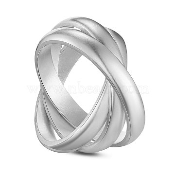 SHEGRACE 925 Sterling Silver Finger Ring, Criss Cross Rings, Double Rings, X Ring, Silver, Size 9, 19.2mm(JR697A)