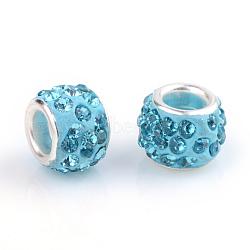 argile polymère strass perles européennes, grandes perles de trou, rondelle, avec des noyaux de laiton de ton argent, aigue-marine, 10~12x7~8 mm, trou: 5 mm(X-CPDL-T001-04)