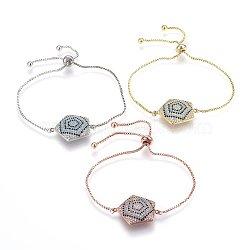 """Bracelets réglables en laiton à micro-pavé de zircons cubiques, Bracelets coulissants, pentagramme, colorées, couleur mixte, 10-1/4"""" (26cm); 1.2mm(BJEW-H583-16)"""