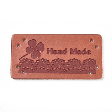 PU Leather Labels, Handmade Embossed Tag, with Holes, for DIY Jeans, Bags, Shoes, Hat Accessories, Rectangle with Word Hand Made, Clover Pattern, Clover, 40x20x1mm, Hole: 1.2mm(DIY-WH0163-13A-05)
