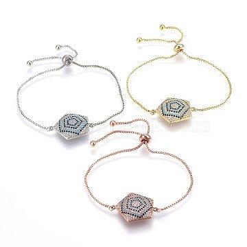 Adjustable Brass Micro Pave Cubic Zirconia Bolo Bracelets, Slider Bracelets, Pentagram, Colorful, Mixed Color, 10-1/4inches(26cm); 1.2mm(BJEW-H583-16)