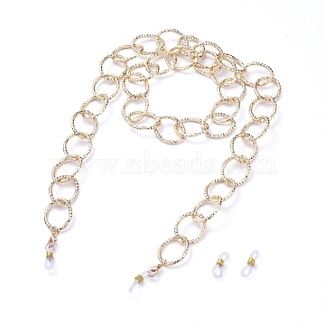 Aluminum Cable Chains Glasses Neck Cord, Strap Eyeglass String Holder, with Alloy Lobster Claw Clasps and Rubber Loop Ends, Textured, Light Gold, 30.7 inches(78cm)(X-AJEW-EH00027-02)