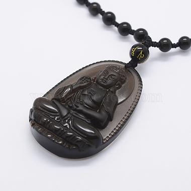 Natural Golden Sheen Obsidian Beaded Pendant Necklaces(NJEW-E116-08)-2