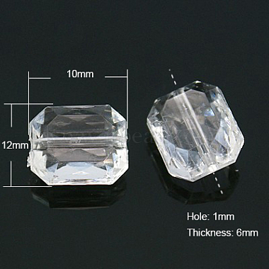 Faceted Rectangle Transparent Clear Acrylic Beads(X-TACR-524-01)-2