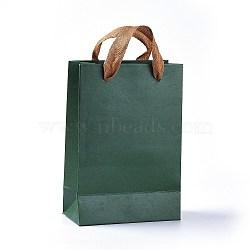Sacs en papier kraft, sacs-cadeaux, sacs à provisions, avec poignées en cordon de coton, seagreen, 18.9x12.9x0.3 cm(CARB-WH0009-01A-01)