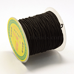 Round Elastic Cord, with Fibre Outside and Rubber Inside, Black, 0.8mm; about 63~65m/roll(EC-R029-0.8mm-02)
