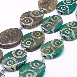 Natural Agate Tibetan Style 4-Eye dZi Beads Strands, Dyed & Heated, Oval, Green, 38~40x28~30x6~8mm, Hole: 3mm, about 8pcs/strand, 14.5inches(TDZI-K001-05A)