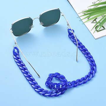 Eyeglasses Chains, Neck Strap for Eyeglasses, with Acrylic Curb Chains, 304 Stainless Steel Jump Rings and Rubber Loop Ends, Royal Blue, 27.56 inches(70cm)(AJEW-AL0009-10)
