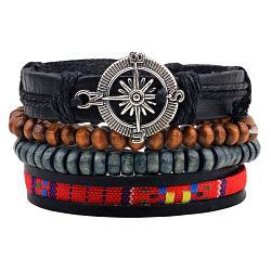 Réglable boussole alliage corde tressée en cuir perles en bois bracelets multi-brins, 4 brins / set, colorées, 60mm(BJEW-P0001-18)
