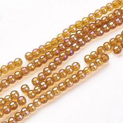 """Chapelets de perles en verre, rond, de couleur plaquée ab , darkgoldenrod, 6mm, trou: 1mm; environ 50 pcs/chapelet, 13""""(X-GR6mm-13Y-AB)"""