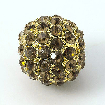 Alloy Rhinestone Beads, Grade A, Round, Golden Metal Color, Black Diamond, 10mm(RB-A034-10mm-A12G)