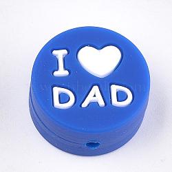 Billes de silicone environnementalistes de qualité alimentaire, perles à mâcher pour les jouets de dentition, Diy soins infirmiers colliers faisant, plat rond avec mot j'aime papa, bleu, 20x9.5mm, Trou: 2mm(SIL-S003-01H)