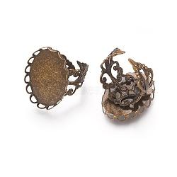 Brassard laiton filigrane composants de l'anneau, bases d'anneau pad, sans nickel, bronze antique, 16mm, Plateau: 25x18 mm(KK-E478-AB-NF)