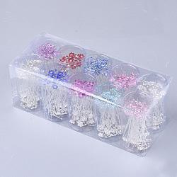 Fourches à cheveux en fer, avec strass, fleur, couleur mixte, 65~66 mm; environ 200 pcs / boîte(OHAR-S200-06-B)